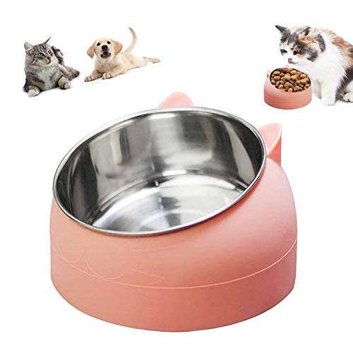 Ciotole per Animali Domestici, Ciotola Gatti, Antiscivolo Ciotole per Cane Gatto, Ciotola per Cibo Gatto Cani in Acciaio Inossidabile, Ciotola Gatto per Inclinazione di 15 °400ml (Rosa)