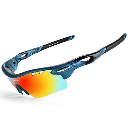 INBIKE Occhiali Ciclismo Polarizzati Anti-UV con 5 Lenti intercambiabili Leggero Resistente(Blu)
