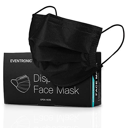 Black Face Mask Disposable, Eventronic Elastic Ear Loops, 3 Layers Haze Dust Face Health for Adult, men & women (50Pcs)