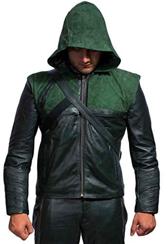 Men's Arrow Green Leather Jacket With Removable Hood