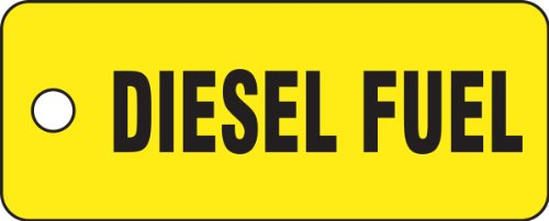 "Accuform Signs TCH204 Container Tag, Legend""Diesel Fuel"", 2"" Length x 5"" Width x 0.080"" Thickness, Polycarbonate, Black on Yellow"