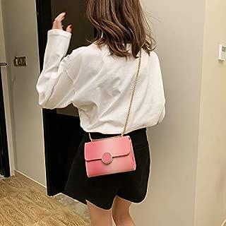 Fashion Single-Shoulder Bags Leisure Fashion PU Leather Slant Shoulder Bag(Black) (Color : Pink)