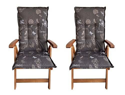 HIGH LIVING 2 x auflagen für gartenmöbel aus 6 cm dicker Schaum Vliesfüllung sitzauflagen gartenmöbel 120 x 50 x 6 cm bestehend aus 50% Polyester, sitzauflagen hochlehner 50% Baumwolle(Braun Design 3)