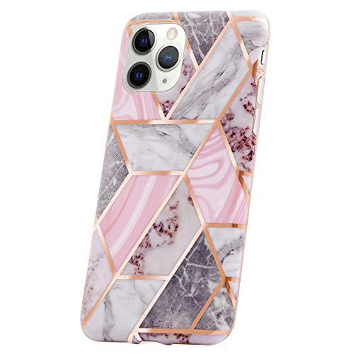 Qult Carcasa para Móvil Compatible con iPhone 11 Pro MAX Funda Silicona Rosa Dura Bumper Teléfono Brillar Purpurina Caso Cubo de Purpurina de mármol Rosa