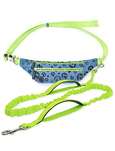 Thankspaw Hands Free Dog Leash with Zipper Pouch for Running Training Walking, Durable Bungee Dog Waist Leash for Medium and Large Dogs, Adjustable Waist Belt, Dual Padded Handles, Reflective Stitches