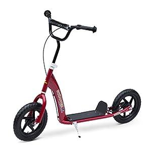HOMCOM Patinete Scooter 2 Ruedas 12 Pulgadas Monopatín para Niños y Adultos Manillar Ajustable con Freno y Caballete Carga 100kg 120x52x80-88cm+ Acero