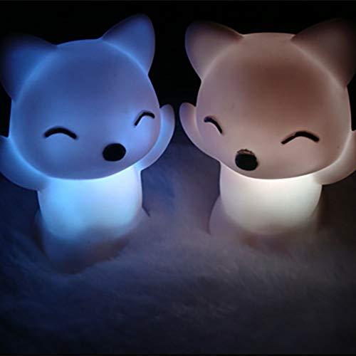 XHSHLID LED Fox Night Light Maison Chambre Bureau 7 Changement de Couleurs Belle Fox Forme LED Night Light Décoration Lampe De Chevet