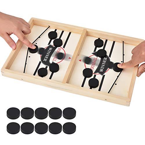 Willingood Hockey Brettspiel, Holz Schnell Sling Puck Match-Spiel, Bouncing Brettspiel, 2 in1 Interaktion Tischhockey Katapult brettspiel, Portable Schachbrett-Set Partyspiele Tisch-Desktop-Spiel