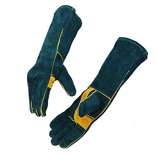 Handing workshop Welding Gloves EXTREME HEAT RESISTANT Cow Split Leather BBQ Camping Cooking Weld...