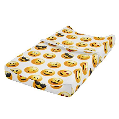 ABAKUHAUS emoji Wickelkissen Wikelauflagenbezug, Smiley Faces Feelings, Weiches Wickeltischunterlage mit befestigungs löchern, Gelb Rot Schwarz
