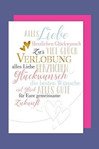 Verlobung Grußkarte Karte Foliendruck Herzlichen Glückwunsch 16x11cm