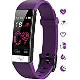 GOGUM Fitness Tracker, Heart Rate Monitor IP68 Waterproof Activity Tracker HRV Health Watch SPO2 Blood Oxygen Blood Pressure with Sleep Monitor and 11 Sport Modes for Women and Men (Purple)