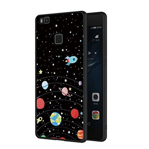 ZhuoFan Funda Huawei P9 Lite Cárcasa Silicona Ultrafina Negra con Dibujos Diseño Suave TPU Gel Antigolpes de Protector Piel Case Cover Bumper Fundas para Movil Huawei P9Lite 2019, Cielo de Estrellas