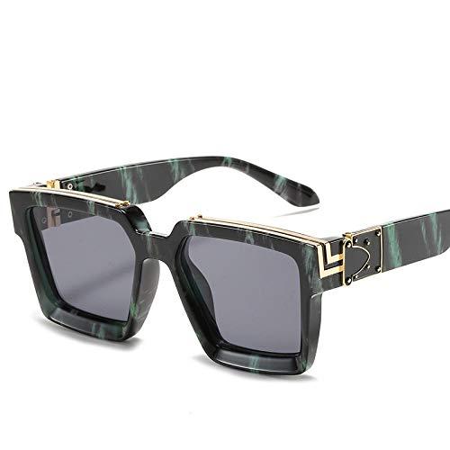 hqpaper Gafas de sol de montura cuadrada europeas y americanas Gafas de sol de moda para damas hombres-Copos grises veteados