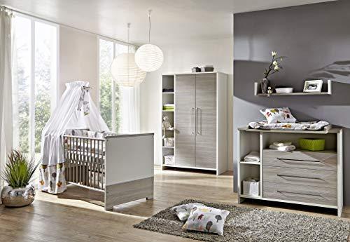 Babyzimmer Eco Silber in Weiß und Pinie Silber von SCHARTD 6 teiliges Kinderzimmer Komplett Set mit Schrank, Bett mit Lattenrost und Umbauseiten, Wickelkommode mit Wickelaufsatz
