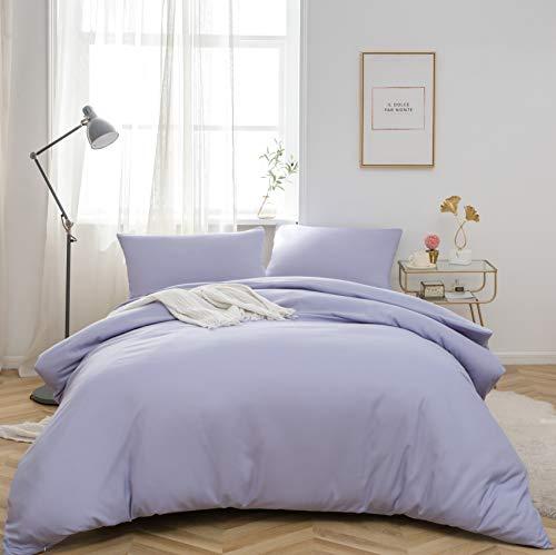MOHAP Non-Iron Duvet Cover Set 3 PCS Double Plain Brushed Microfiber Bedding Duvet Cover with Pillowcases Light Lavender