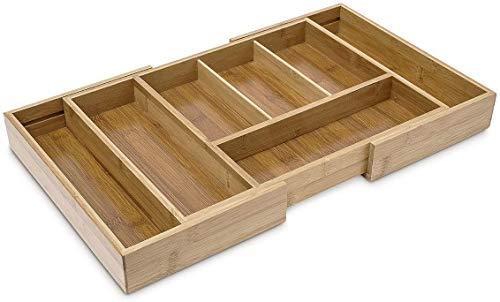Relaxdays Bestekbak uittrekbaar h x b x d: 5 x 48,5 x 28 cm, bestekbak van bamboe met 5 tot 7 vakken als keukenorganizer en lade-inzet, onderhoudsvriendelijke bestekbak voor alle laden, naturel