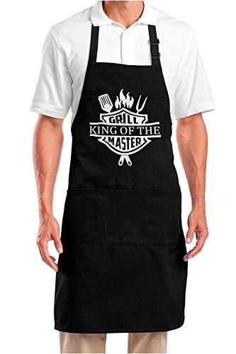 YuanDe Lustige Grillschürze für Männer - King of the Grill Master - Einheitsgröße - Chef Küche Kochen Grillschürze mit 3 großen Taschen für Papa, Ehemann, Freund - Schwarze Schürze für Outdoor BBQ