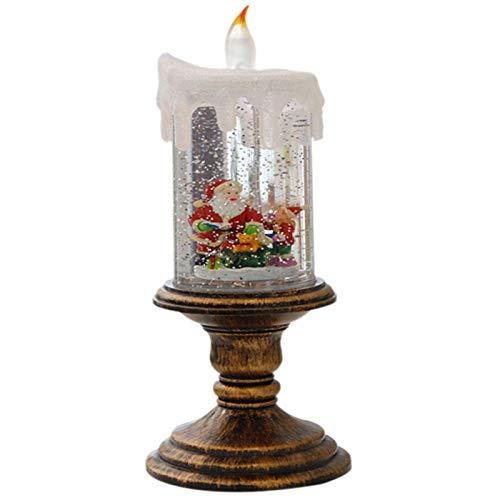KANGLE-DERI Weihnachten Flammenlose Kerze Weihnachtskerze Dekoration, Rotierendes Wasser Weihnachten Schneeball Kerzenhalter Thanksgiving Weihnachtsdekoration,Santa Claus