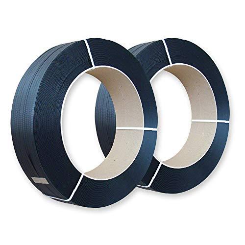 2 Rollen mit 2000 m PP-Umreifungsband, 16 x 0,65 mm, Kern 406 mm, Reißfestigkeit 216 kg - Polypropylen-Kunststoffband Umreifun