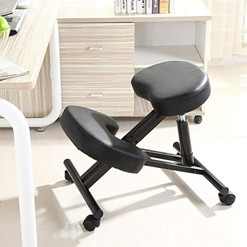 YAMMY Kneeling Chairs Ergonomic Office Chair for Correct Posture Computer Chair with Height Adjustable Pulley Black (Color: Black Size: Mesh Cushion)