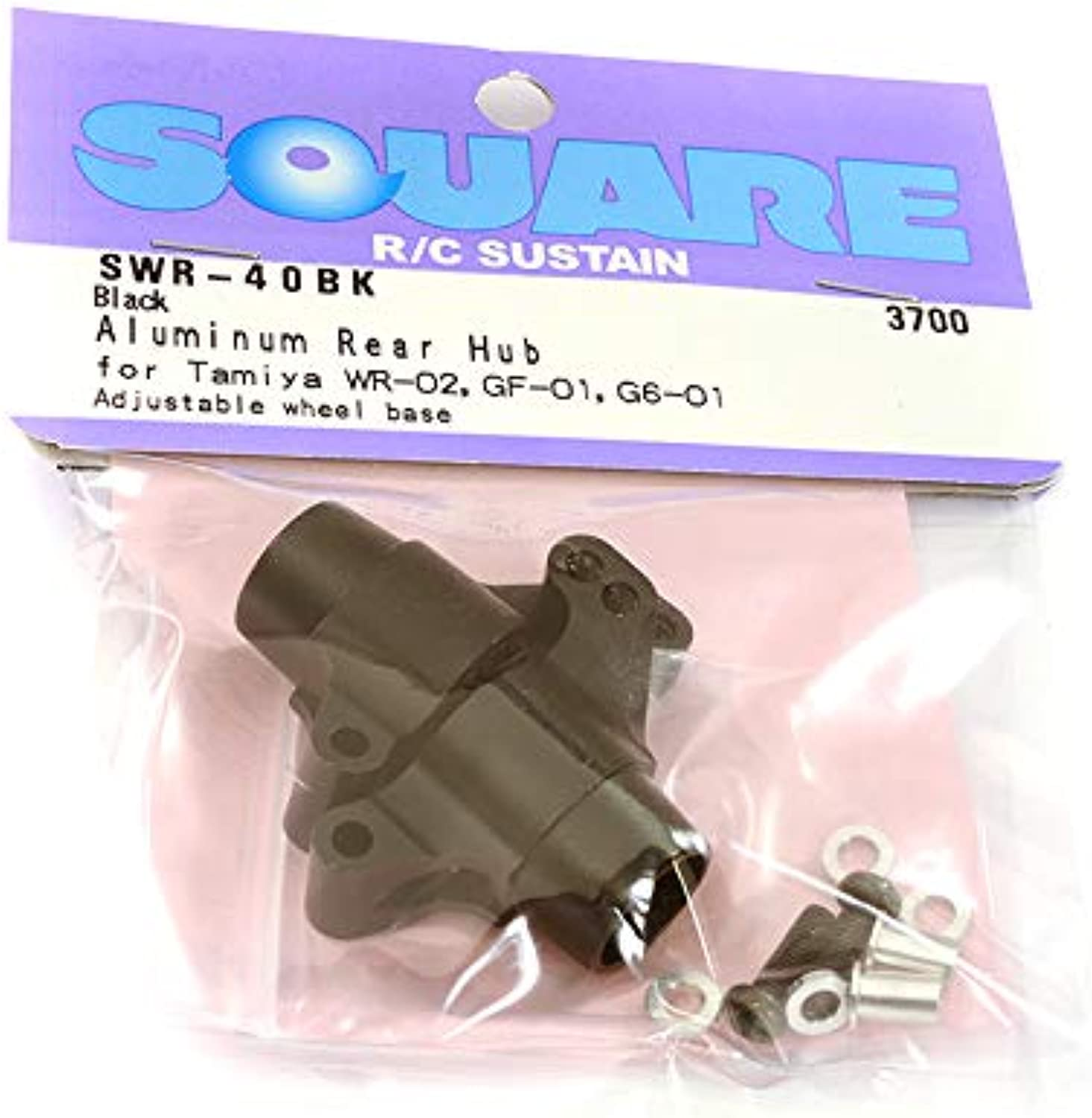 Square R C RC Model Hop-ups SQ-SWR-40BK Square R C Aluminum Rear Hub (for Tamiya GF-01, City Turbo and WR02) Black