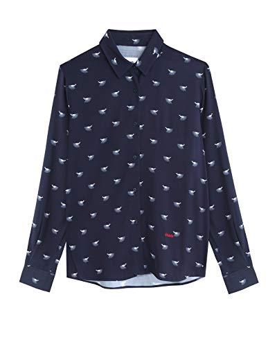 Brava Fabrics - Blusa Estampada - Blusa Manga Larga Mujer - 100% Viscosa Ecovero - Modelo Japanese Sky