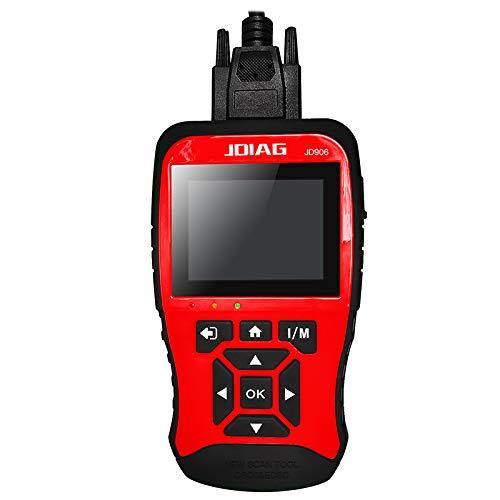 JDiag JD906 Diagnosegerät für Motor-Fehlercode-Leser, 6 Modi, 8 OBD2, Diagnosegerät für Smog Check mit Kernanalyse (rot)