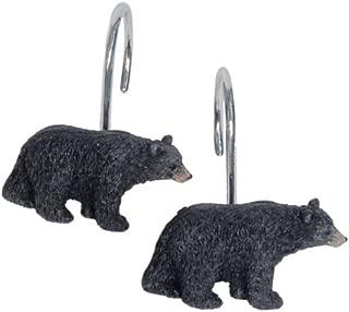 Black Forest Décor Black Bear Lodge Shower Curtain Hooks - Set of 12