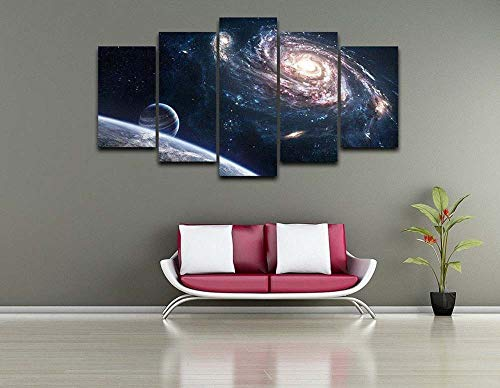 KOPASD 5 Partes Lienzo Decorativo para Pared Espacio Exterior Galaxy Planet Paisaje DiseñO de GicléE,Estilo Moderno,Ideal para Salones-100x55cm con Marco