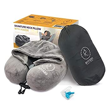 Hooded Neck Pillow and Silicone Ear Plugs Premium Sleep Travel Kit Ultra Soft Memory Foam Airplane Cushion Adjustable Drawstring Hood with Carrying Bag by ROVAZO