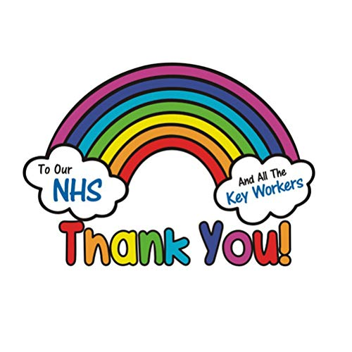 barsku Thank You NHS Sticker voor Window Car, Waterdichte Regenboog Thankings Sticker (32.4cm x 23cm) 1pc Kleurrijk