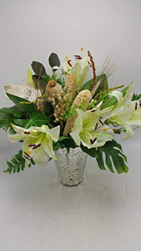 Trauergesteck Grabstrauß Grabschmuck Seidenblumenstrauß Lilien Blatt