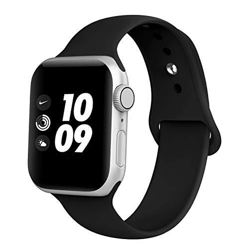 Adepoy kompatibel Apple Watch Armband, Sport Wasserdicht Silikon Ersatzarmband für iWatch 44mm 38mm 42mm 40mm Series 5/4/3/2/1 (42MM Schwarz S)