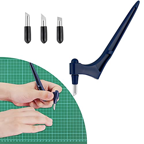 kiniza Craft Cutting Tools, Stainless Steel Craft Knives with 3 Pcs (15°, 30°, 45°) 360-degree Rotating Blade, Precision Carving Cutter Craft Tool, Hobby Knife for Scrapbooking Art Creation