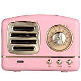 VANLAN Vintage Radio Retro Bluetooth Speaker Wireless Stereo Retro Speaker with Built-in Mic,for Bedrooms Kitchen,Party Travel Outdoor for Android/iOS Devices(Pink)
