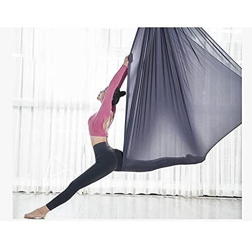 Zyy - Hamaca de yoga aérea para yoga, pilates, yoga, columpio, para yoga, columpio, para principiantes de 5 m x 2,8 m (color: gris)