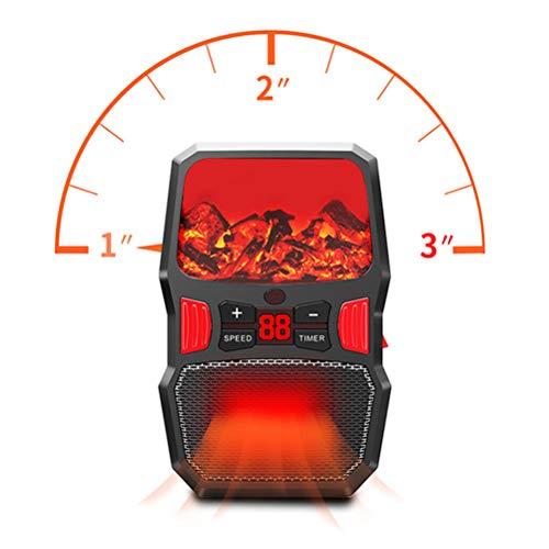 Ins Flamma kachel van keramiek, draagbaar, met oververhittingsbeveiliging en omvalbeveiliging, regelbare thermostaat, vlammeneffect, open haard, 1000 W, zwart