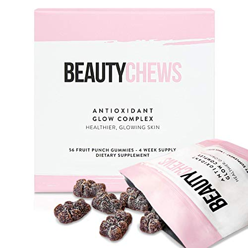Beauty Chews Collagen Boosting Antioxidant Gummy Bear Supplement - Astaxanthin and Vitamin E Gummies for Immune Support, Anti-Aging Skincare Vitamins for Glowing Skin and Hair