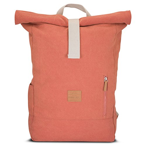 Rolltop Rucksack Damen & Herren Rot ADAM - JOHNNY URBAN Roll Top Backpack aus Baumwoll Canvas - Lässige Rucksäcke für Alltag, Uni, Reisen & Schule - Wasserabweisend & sehr flexibel