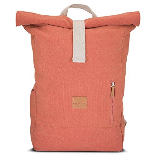 Rolltop Rucksack Damen & Herren Rot ADAM - JOHNNY URBAN Roll Top Backpack aus Baumwoll...