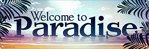 nobrand Welcome to Paradise Theme Metal Tin Sign 6x16 Inches Slim Tin Sign Street Signs