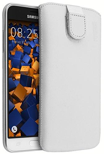 mumbi ECHT Ledertasche Samsung Galaxy J3 (2016) Tasche Leder Etui weiss (Lasche mit Rückzugfunktion Ausziehhilfe)
