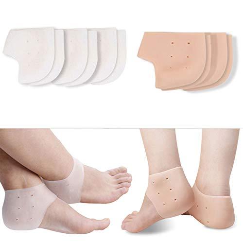 Fersensporn Bandage Silikon, Kapmore Ferse Socken 5 Paar Fersensocken Heel Wrap Verstellbare Atmungsaktive Plantarfasziitis Wrap Fersenschutz