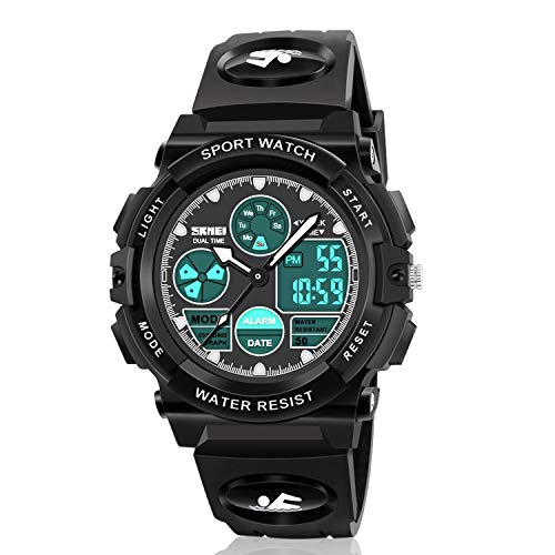 Dodosky Digitale Armbanduhr für Jungen, Sport, wasserdicht, LED-Uhr mit Wecker, Armbanduhr für Jungen und Mädchen, Jungen, Schwarz A