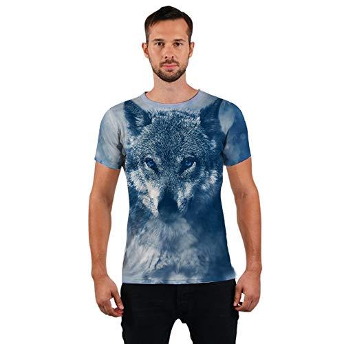 GJCDGPZTX 3D Impresión Lobo Camiseta De Los Hombres De La Llegada del Verano Divertido Animal Unisex Punk Camiseta Hombre Top Tees Venta Al por Mayor