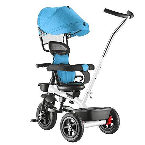 Axdwfd Kids Fietsen driewielers Duw Trek Baby Titanium Lege Wiel, driewielers Lading 50 kg 1-6 Jaar Oud, Standaard Baby Kinderwagens met Roterende Zitplaats+Vouwpedaal+Plated Putter Fiets