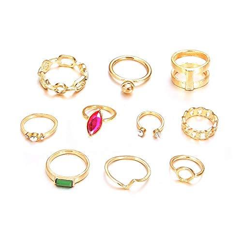 Logo WLYX 10 Piezas de joyería Anillo, Europa Y América geométrico del Diamante, Esmeralda, y del Anillo de Calados