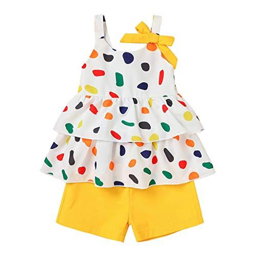 JERFER Kleinkind Kinder Baby Mädchen Polka Punkt Rüsche Gurt T. Hemd Tops Kurze Hose Outfits Einstellen