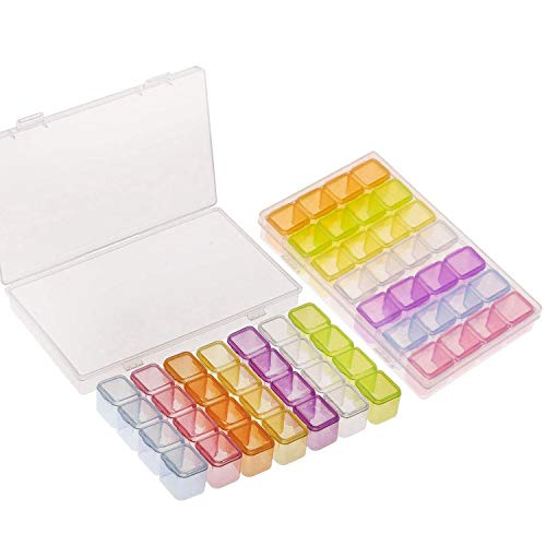 Bigpea 2 Paquetes Caja de Pintura de Diamante Colorido de 28 Rejillas, Estuche de Almacenamiento para Pintura de Diamante Accesorios de Diamantes de Imitación para DIY Artesanías, Kit
